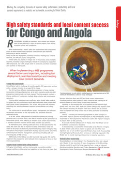 High safety standards and local content success for Congo and Angola