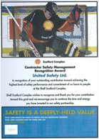 United Safety was awarded a Contractor Safety Management Recognition