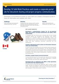 Development of 16 Safe Work Practices