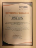 United Safety Qatar has been awarded the Certificate of Excellence by Oryx GTL, in recognition of our contribution to their world-class safety performance